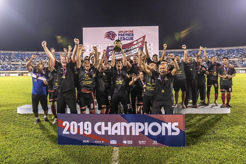 Above: Tampines fans cheering a goal that was disallowed, as they watched last Saturday's game against Hougang from a vantage point outside the stadium at Our Tampines Hub. The Stags lost 2-1. ST PHOTO: JASON QUAH Left: Brunei DPMM celebrating last O