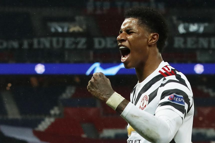 Manchester United's Marcus Rashford celebrating after scoring a goal against PSG on Oct 20, 2020.