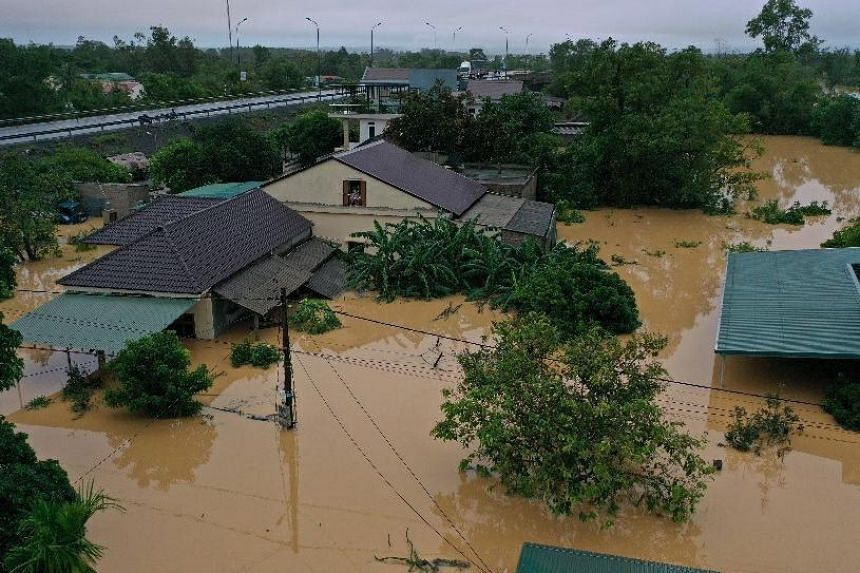 Waters surrounding houses in Cam Lo district, Quang Tri province, Vietnam, on Oct 18, 2020.
