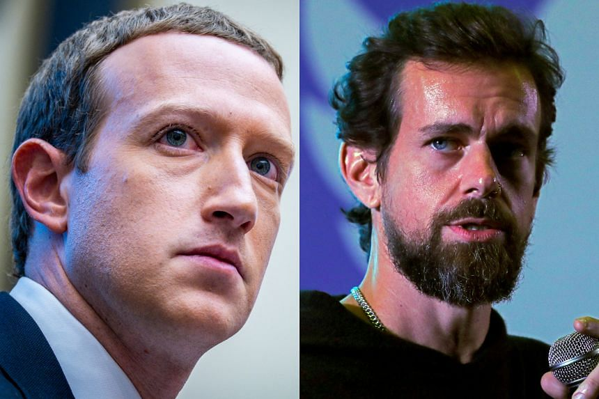 (From left) Facebook CEO Mark Zuckerberg and Twitter CEO Jack Dorsey.