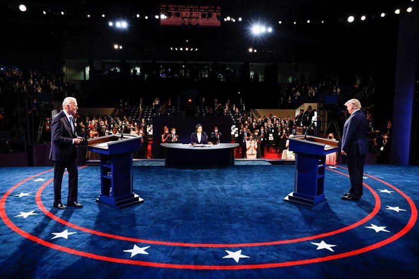 Mr Joe Biden and Mr Donald Trump during the final debate, on Oct 22, 2020.