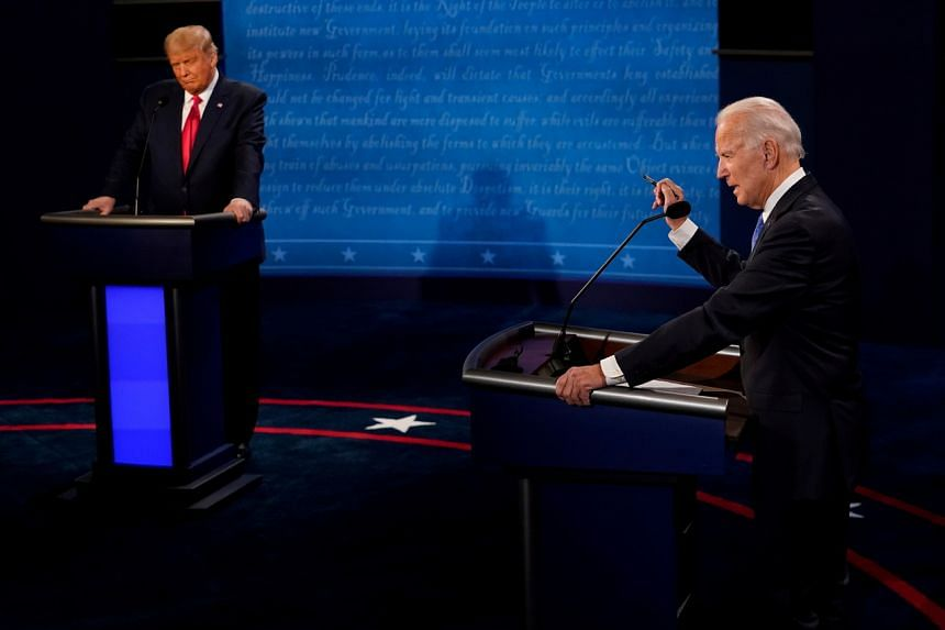 US President Donald Trump and Democratic presidential candidate Joe Biden during the final debate, on Oct 22, 2020.