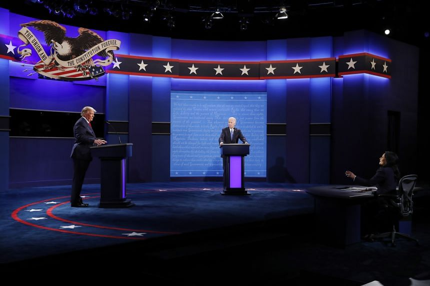 US President Donald Trump and Democratic presidential candidate Joe Biden at the final debate, on Oct 22, 2020.