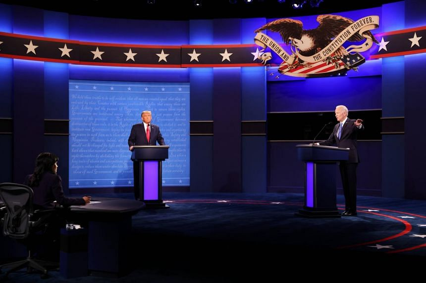 US President Donald Trump and Democratic presidential candidate Joe Biden during the final debate in Nashville on Oct 22, 2020.