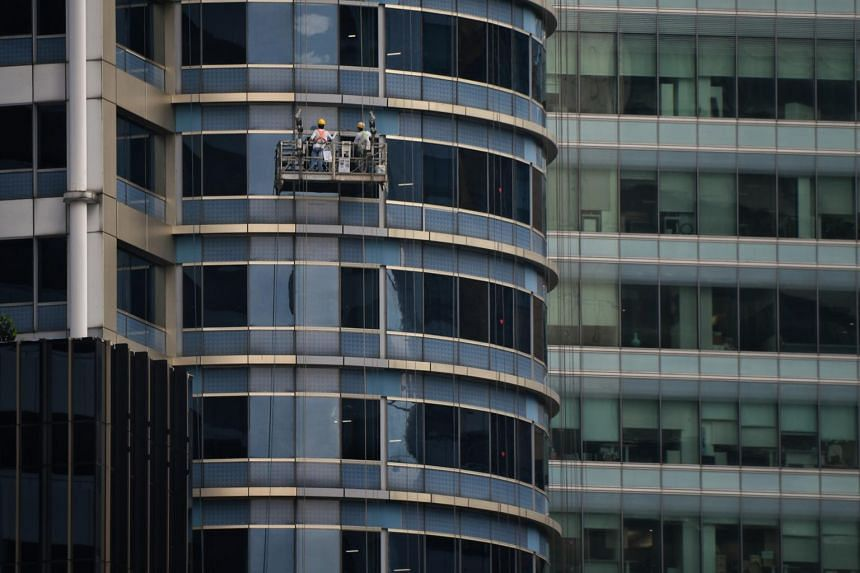 Rents of office space in the central region of Singapore fell 4.5 per cent from the previous three months in the third quarter.