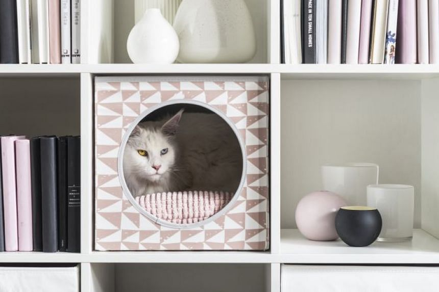 The Lurvig cat house goes perfectly with Ikea classics such as the Kallax shelving unit.