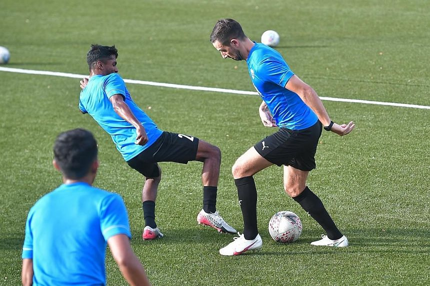 Lion City Sailors striker Stipe Plazibat (right) during training on Thursday. He scored twice on his debut to lead his team to a 4-0 Singapore Premier League win over Geylang last weekend. The 31-year-old has been praised by his coach Aurelio Vidmar