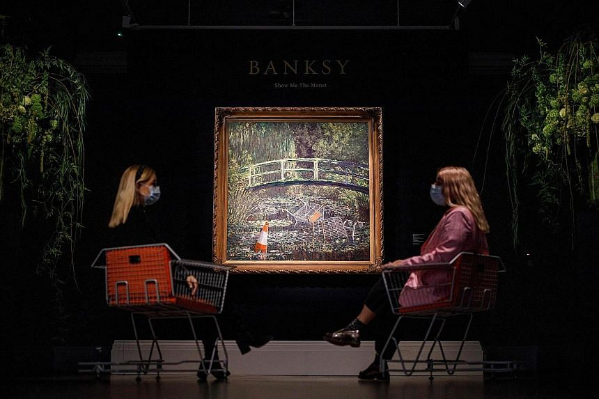 Show Me The Monet, a modern take on Claude Monet's impressionist classic The Water-Lily Pond, fetched the second-highest price at auction for Banksy.