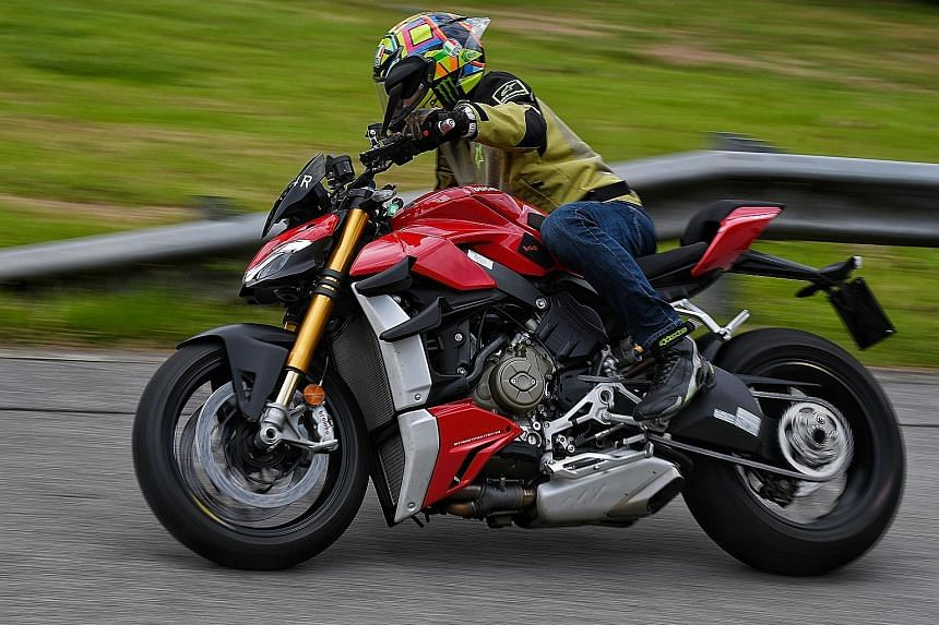 The 2020 Ducati Streetfighter sprints from zero to 100kmh in under 3.5 seconds and to a top speed of close to 300kmh.