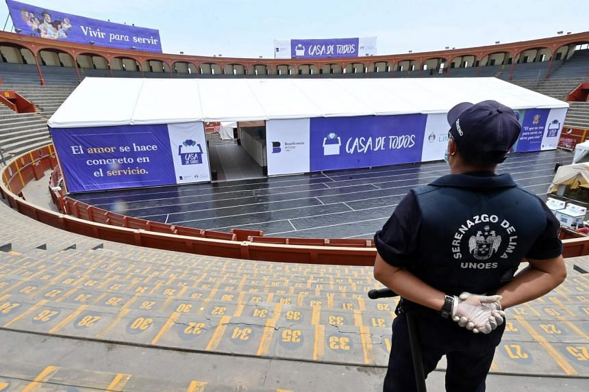 The Acho Bullring in Lima is currently being used to provide shelter for homeless pensioners affected by the pandemic.