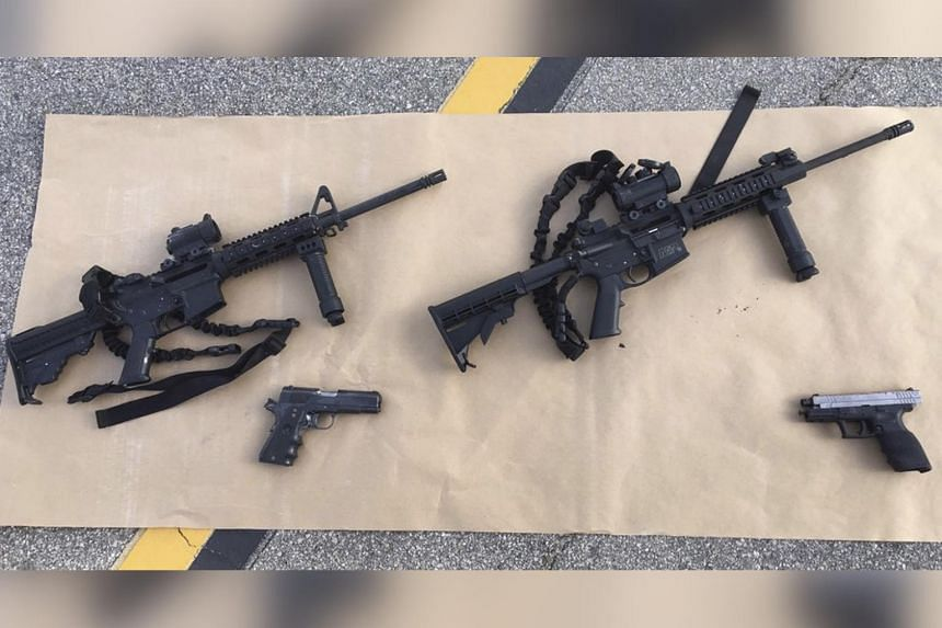 Weapons used in the 2015 mass shooting in San Bernardino, California.
