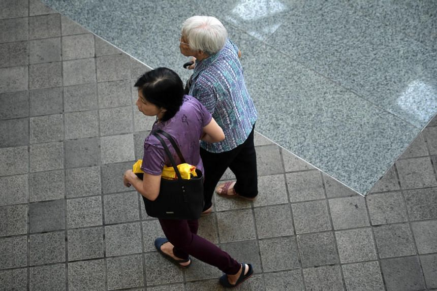 An elderly lady together with her caregiver in Toa Payoh on Oct 2, 2018.