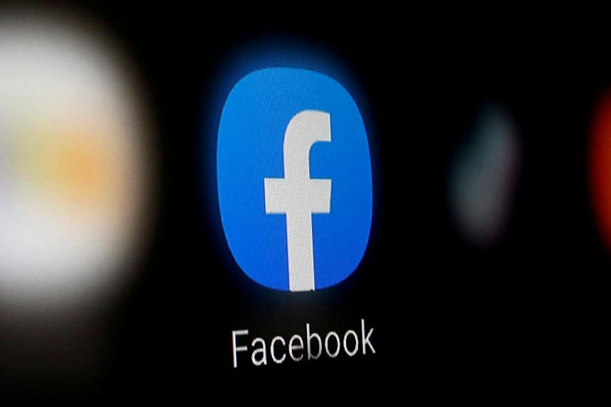 A Facebook logo is displayed on a smartphone.