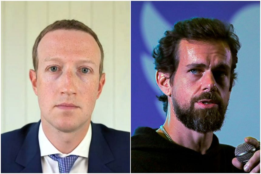 Facebook's Mark Zuckerberg (left) and Twitter's Jack Dorsey have been called to Washington to explain their content policies.