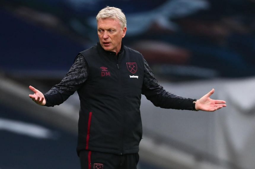 West Ham United's manager David Moyes during the match between Tottenham Hotspur and West Ham United in London on Oct 18, 2020.
