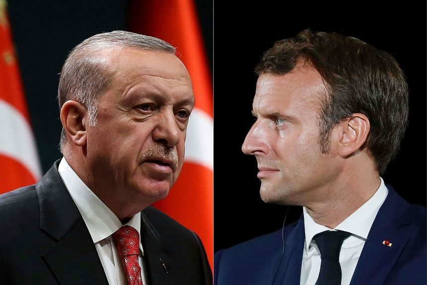 Turkish President Recep Tayyip Erdogan (left) had said French counterpart Emmanuel Macron needed his mental health checked.