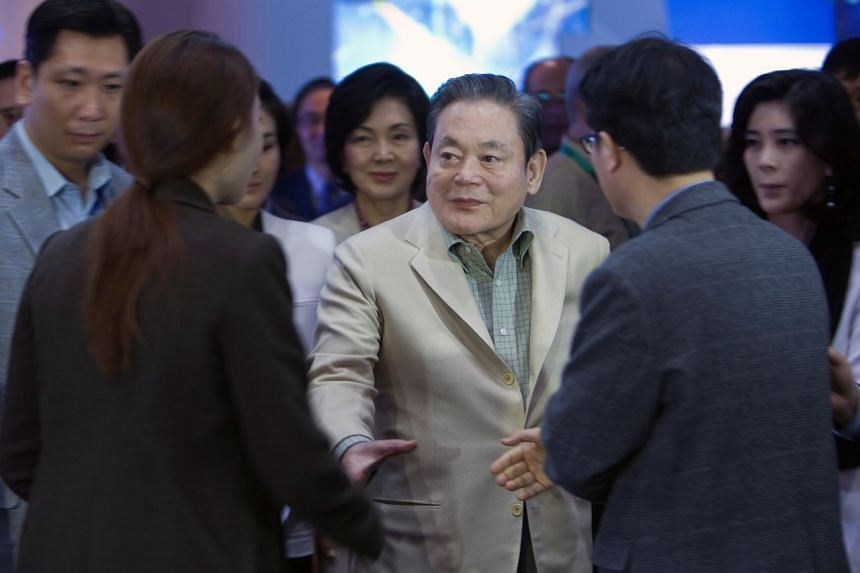 In a photo taken on Jan 12, 2012, Mr Lee Kun-hee greets reporters at the 2012 International Consumer Electronics Show (CES) in Las Vegas.