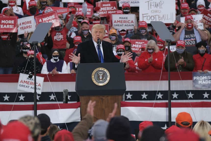 US President Donald Trump speaks to supporters during a campaign event in Ohio on Oct 24, 2020.