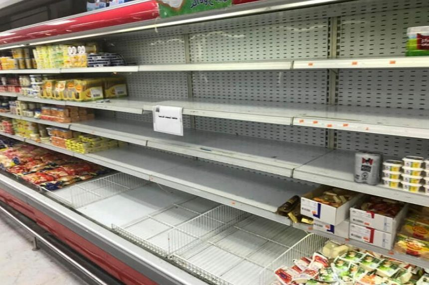 Empty shelves are seen where French products were displayed in Kuwait City, on Oct 25, 2020.