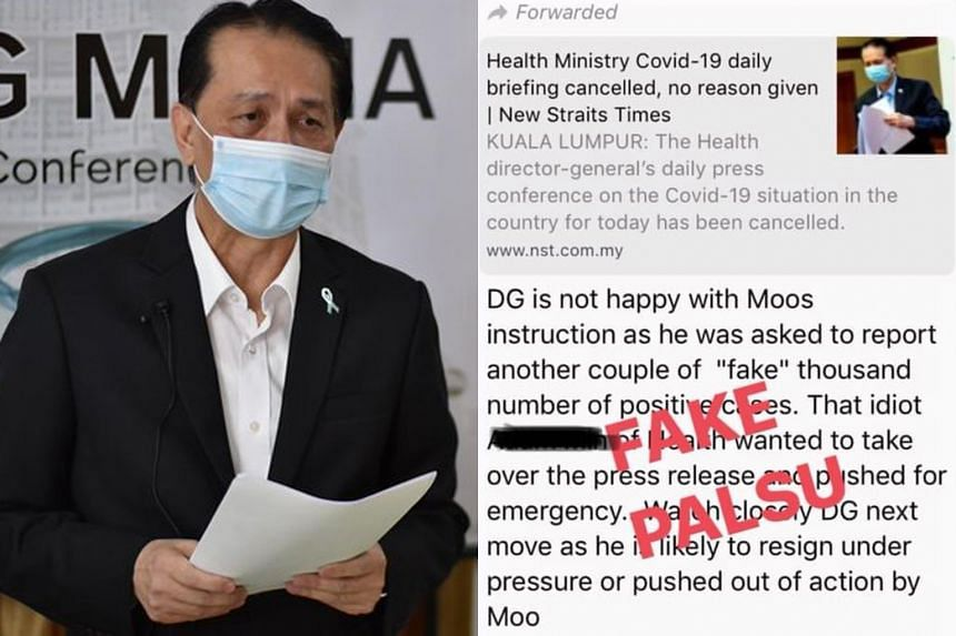 Messages circulated on WhatsApp claimed that the ministry's director-general Noor Hisham Abdullah was unhappy with instructions to fake the number of cases.