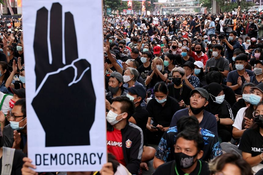 Pro-democracy protesters attend an anti-government protest in Bangkok on Oct 25, 2020.