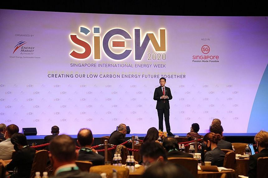 Minister for Trade and Industry Chan Chun Sing speaking at the opening of the Singapore International Energy Week at the Sands Expo and Convention Centre yesterday. PHOTO: LIANHE ZAOBAO