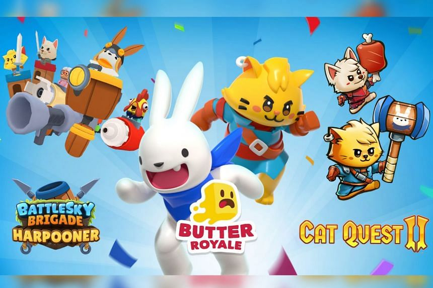 Three local game studios team up to create a crossover of their games (from left) BattleSky Brigade Harpooner, Butter Royale and Cat Quest II.