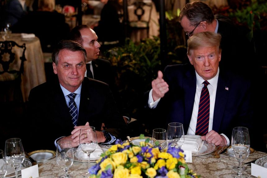 The two most powerful leaders in the Americas, Mr  Bolsonaro (left) and Mr Trump are both ardent nationalists defiant of mainstream science.