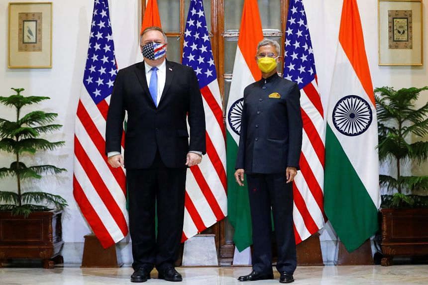 US Secretary of State Mike Pompeo (left) and India's Foreign Minister Subrahmanyam Jaishankar in New Delhi, India on Oct 26, 2020.