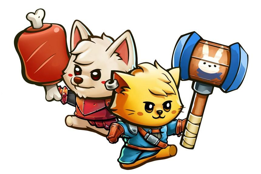 Butter Royale and Battlesky Brigade Harpooner weapons being wielded by characters in Cat Quest II.