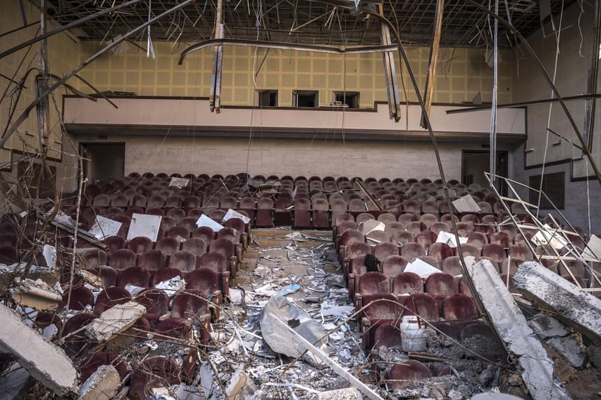 The damaged House of Culture in Shusha in Nagorno-Karabakh. Missile strikes have killed at least 65 civilians from Azerbaijan and 37 from Armenia.
