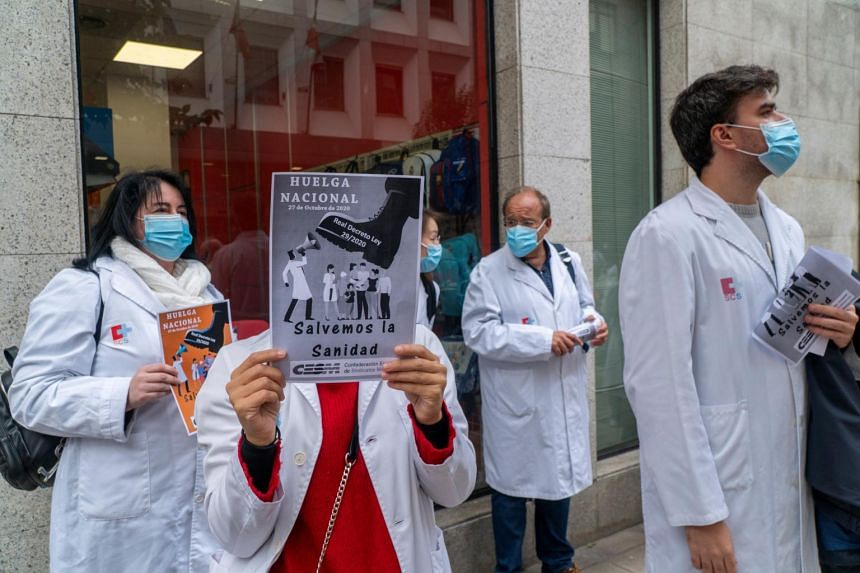 About 85 per cent of Spain's 267,000 doctors took part in the walkout on Oct 27, 2020.
