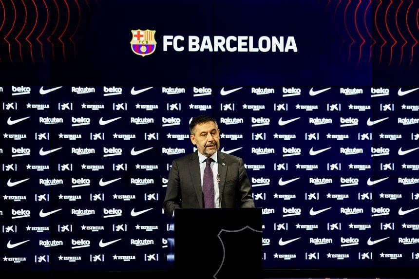 FC Barcelona President Josep Maria Bartomeu during a presser at Camp Nou stadium in Barcelona, on Oct 26, 2020.