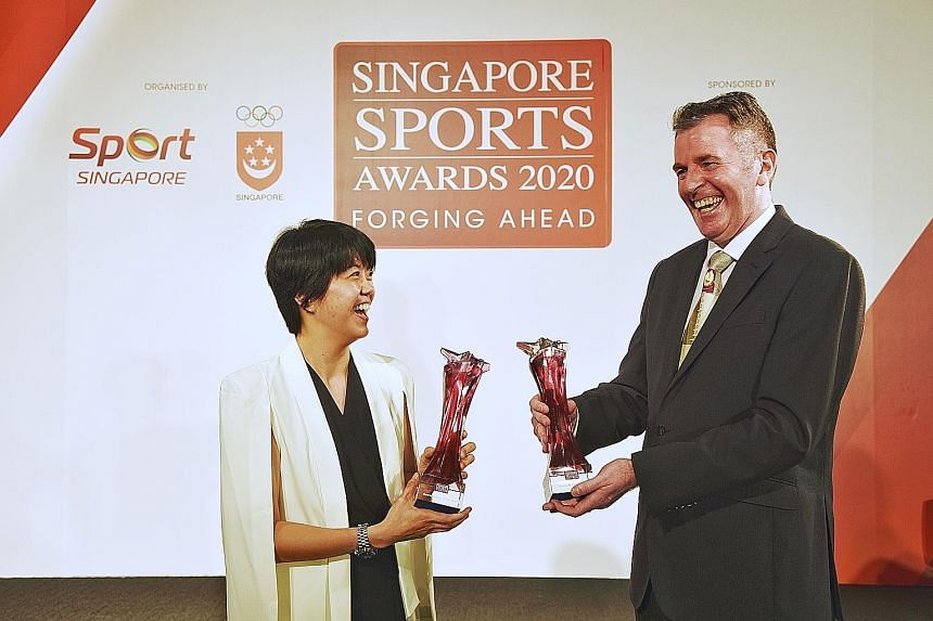 Cherie Tan and Peter Gilchrist took the most prestigious prizes last night at the Singapore Sports Awards presentation.