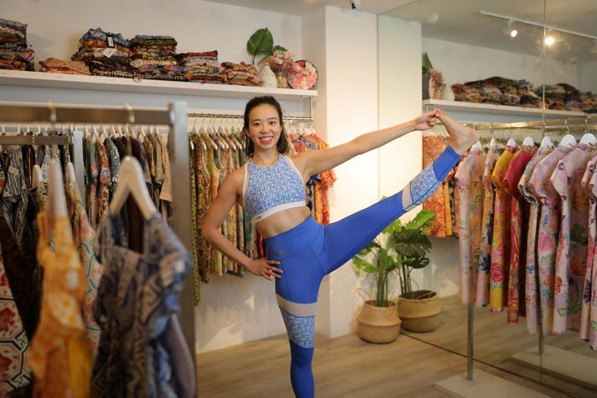 YeoMama Batik co-founder Desleen Yeo wearing Ninja activewear in the YeoMama store.
