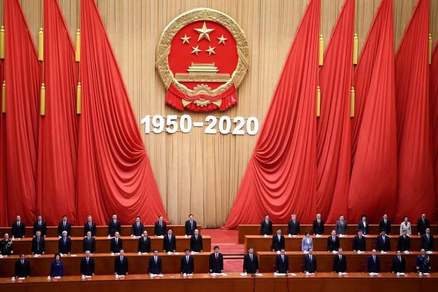Chinese President Xi Jinping attends ceremony to commemorating the 70th anniversary of China's entry into the 1950-53 Korean War, at the Great Hall of the People in Beijing on October 23, 2020.