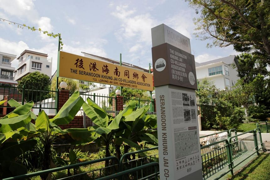 The trail consists of 18 sites, with 10 trail markers like the one pictured, and two storyboards that stands in front of the the Serangoon Khiung Jai Co-Villagers Association.