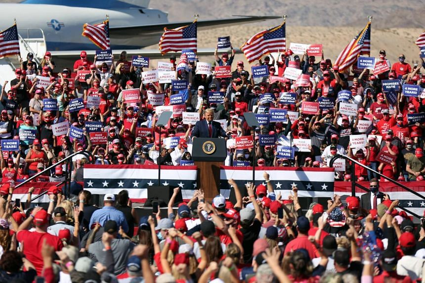 US President Donald Trump speaks during a campaign rally in Bullhead City, Arizona on Oct 28, 2020.