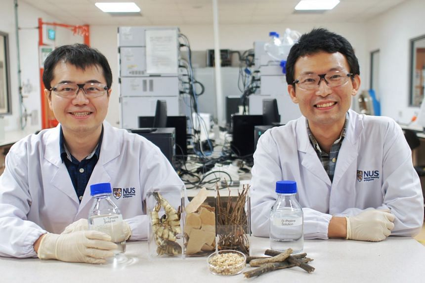 Associate Professor Yan Ning (left) and Assistant Professor Zhou Kang (right) led the research into converting waste into useful substances.