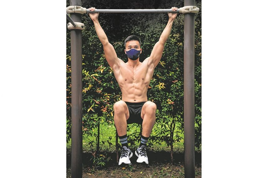 Freelance fitness trainer Samuel Tan likes that the Asics Runners Face Cover leaves a space between the mask's inner wall and his face, so that heat is not trapped from the constant exhaling during a workout.