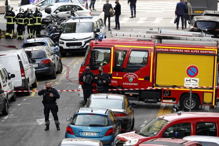 French police officers securing the street in Nice, France, on Oct 29, 2020.
