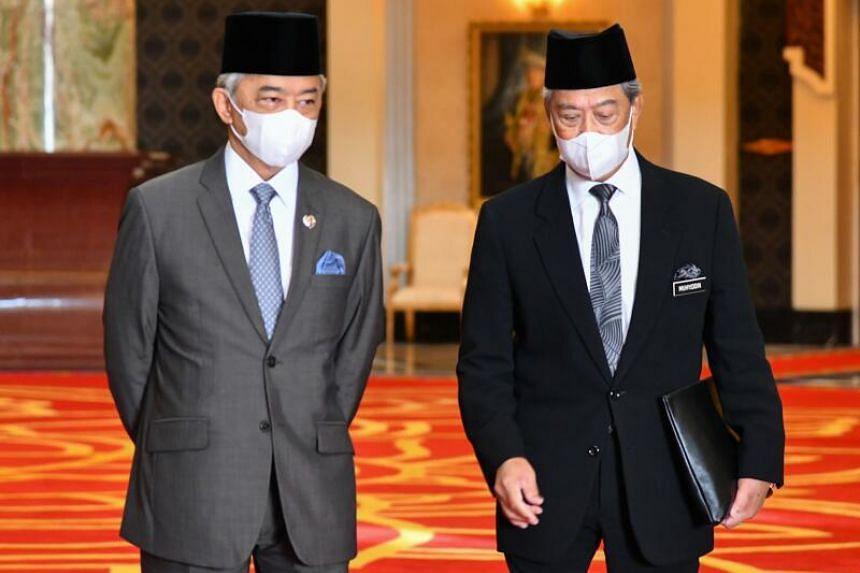 Malaysia's King, Sultan Abdullah Ahmad Shah (left), with Malaysian Prime Minister Muhyiddin Yassin in Kuala Lumpur on Oct 28, 2020.
