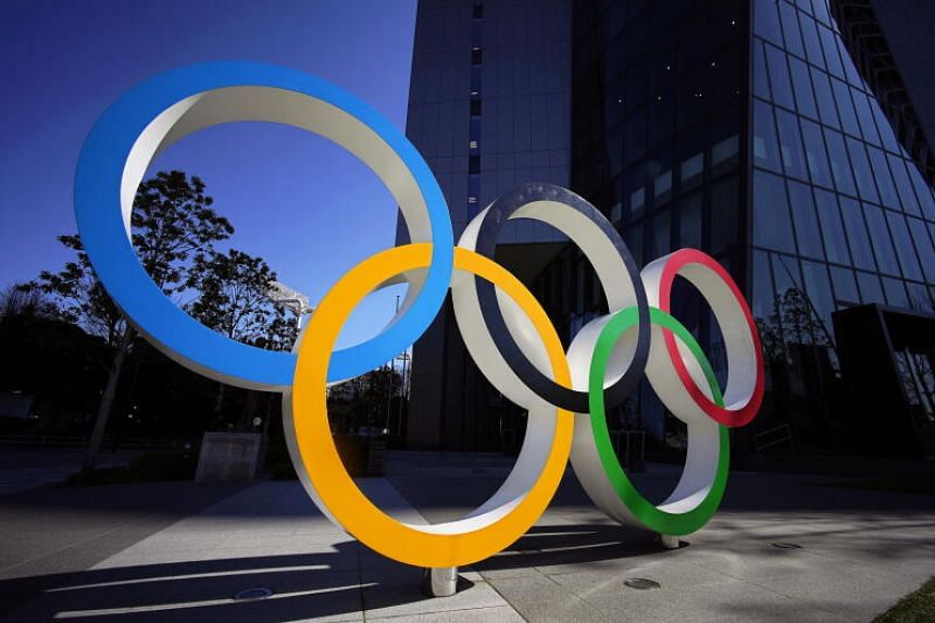 The Olympic Rings monument in front of the Japan Olympic Committee headquarters in Tokyo, Japan, 24 March 2020.