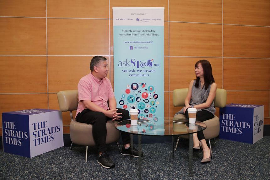Principal career coach Christine Gan (right) and The Straits Times assistant news editor Toh Yong Chuan during October's askST @ NLB session.