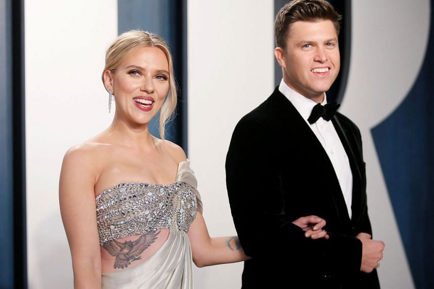 Scarlett Johansson (left) and Colin Jost (right) started dating about three years ago and got engaged in May 2019.