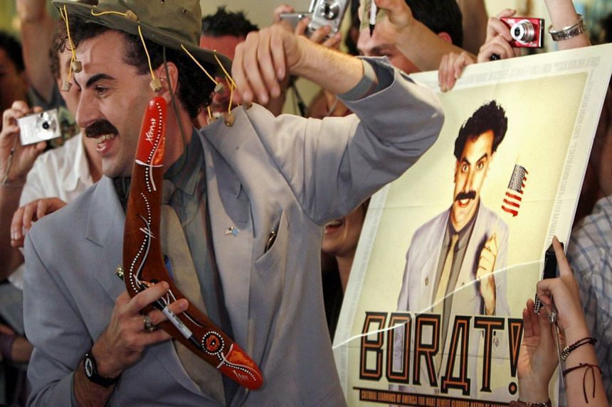 British actor Sacha Baron Cohen in character as a Kazakh TV reporter known as Borat during the 2006 Australian premiere of his film Borat: Cultural Learnings Of America For Make Benefit Glorious Nation Of Kazakhstan.