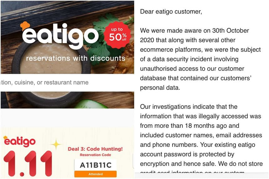 Eatigo said the information stolen included names, e-mail addresses and phone numbers.