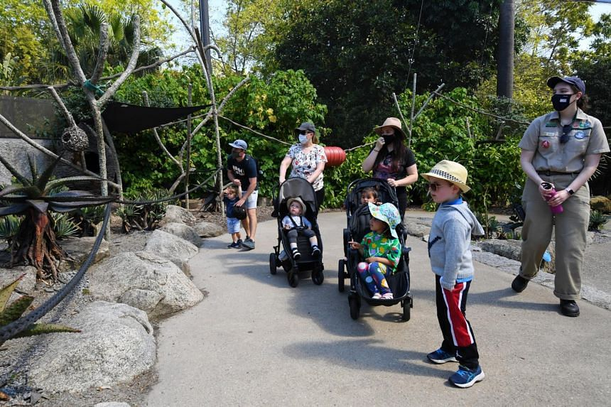 People visiting the Melbourne Zoo on Oct 29, 2020, after coronavirus restrictions were eased.