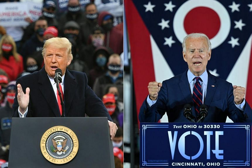 Mr Donald Trump (left) speaks during a rally at Manchester-Boston Regional Airport, on Oct 25, 2020, and Mr Joe Biden delivers remarks at an event in Cincinnati, Ohio, on Oct 12, 2020.