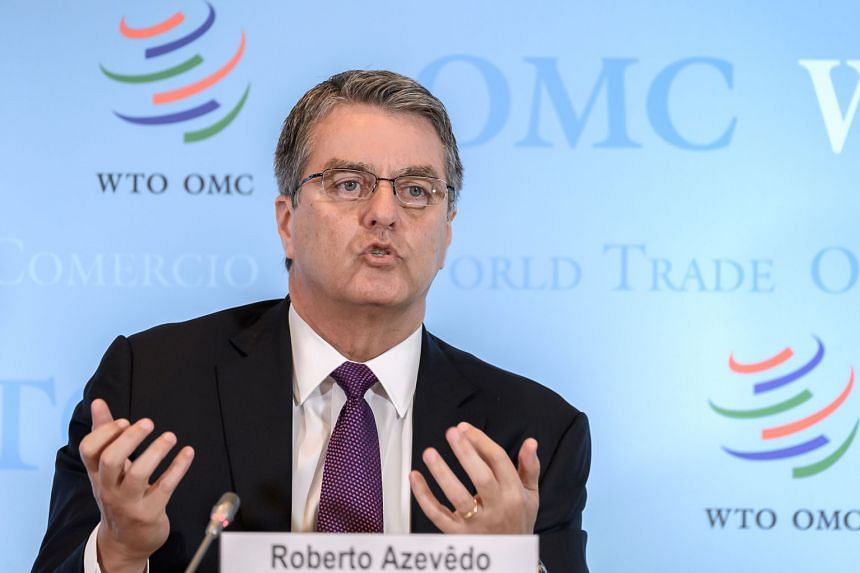 OUTGOING WTO CHIEF ROBERTO AZEVEDO Former Brazilian diplomat Roberto Azevedo stepped down as World Trade Organisation director-general on Aug 31, earlier than planned, because of personal reasons, and left a leadership gap. PHOTOS: AGENCE FRANCE-PRES